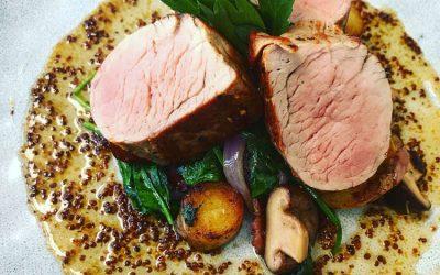 Pork Tenderloin w/ mushrooms, spinach, bacon and honey mustard dressing