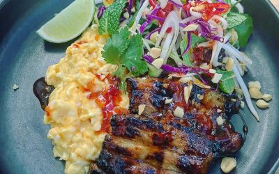 Asian glazed pork belly, soft scrambled eggs & asian salad
